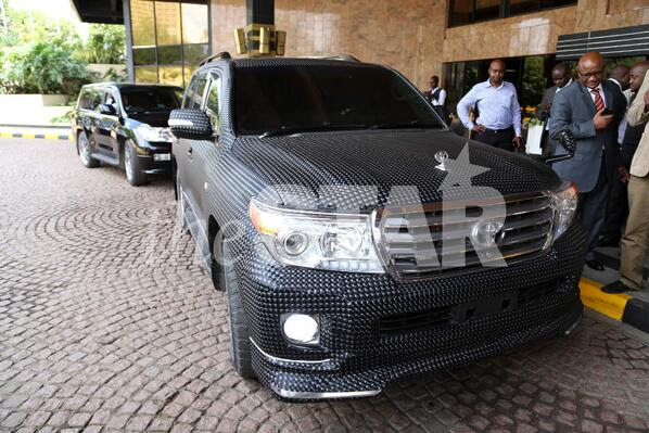 A customised Toyota VX owned by Nairobi Senator Mike Sonko spotted at the Laico Regency, Nairobi