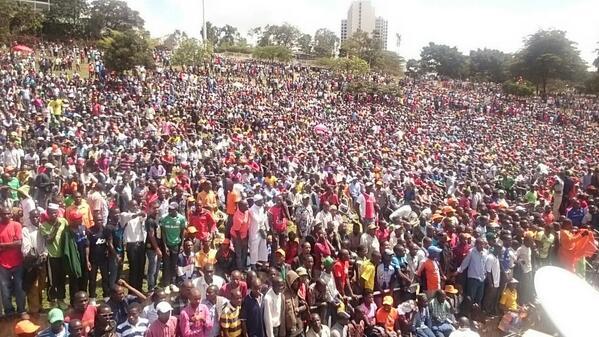 mammoth of crowd awaiting raila