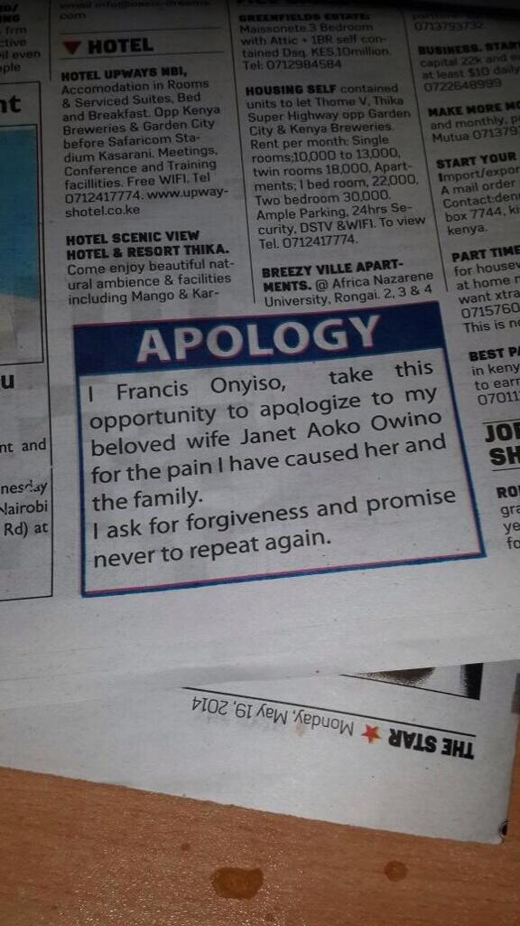 man apologises on the star newspaper