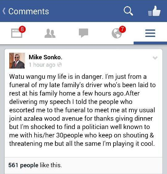 sonko facebook message