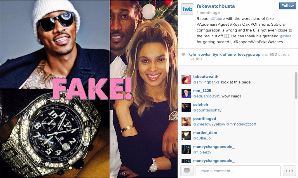 Instagram account that shows rappers who wear fake watches naibuzz for Watches rappers wear