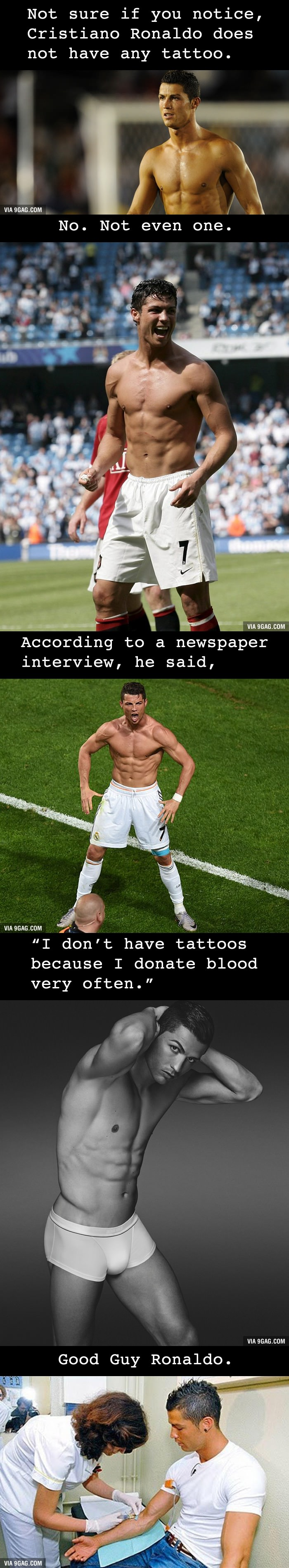 why cristiano ronaldo does not have a tattoo