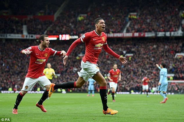 smalling after scoring a goal