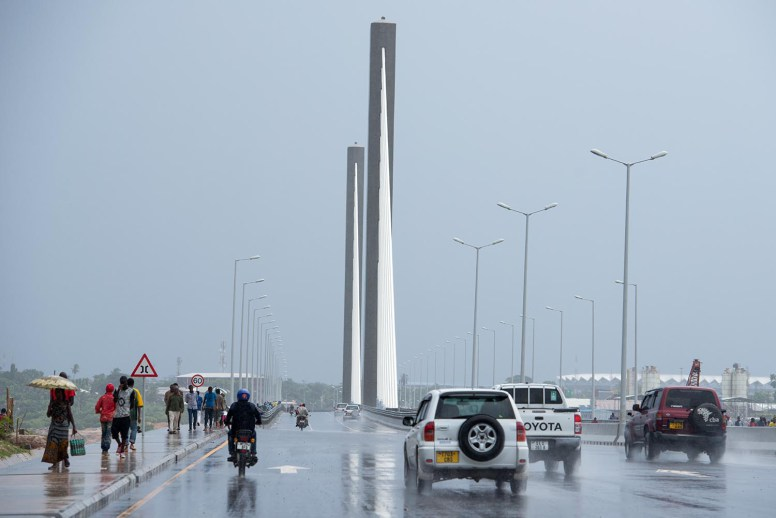 Dar es Salaam, Tanzania 4/16/16 - The opening of the Kigamboni bridge in Dar es Salaam, Tanzania on April 16, 2016. The six lane suspension bridge is 680 meters long. Photo by Daniel Hayduk