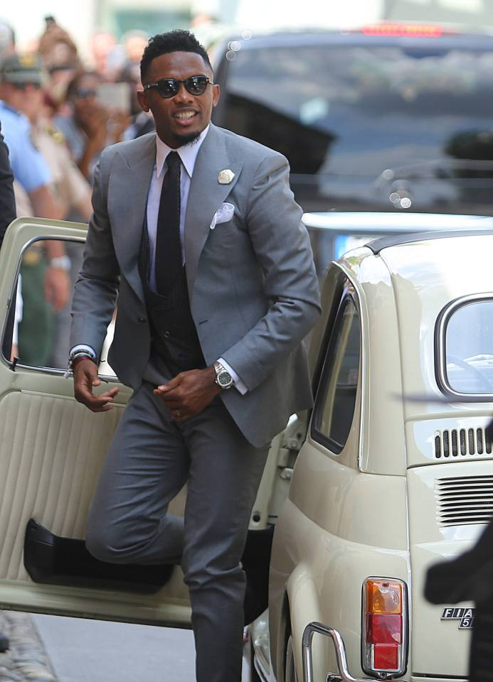 Wedding of former football player Samuel Eto'o and Georgette Tra Lou in Stezzano,Italy. Pictured: Samuel Eto'o Ref: SPL1301991 140616 Picture by: Fotogramma / Splash News Splash News and Pictures Los Angeles: 310-821-2666 New York: 212-619-2666 London: 870-934-2666 photodesk@splashnews.com