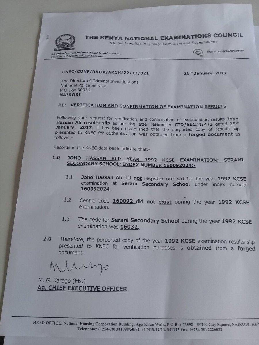 knec claims joho u0026 39 s kcse certificate is fake